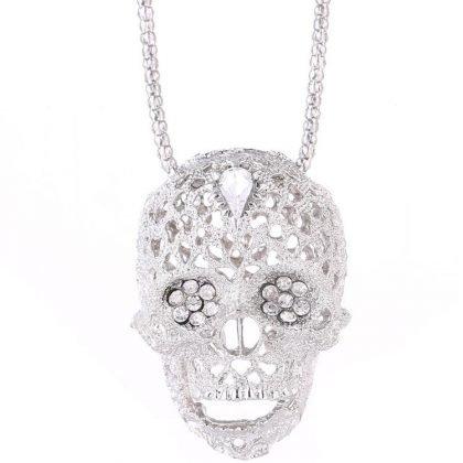 Kedja med stor skalle i silver och diamanter hip hop nickelfri