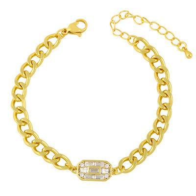 Lyxigt 18K guldpläterat armband med zircon kuber Hip hop