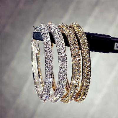 Örhängen hoops med dubbla rader diamanter strass