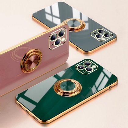 iPhone 12 och iPhone 12 Pro Skal Lyxigt Stilrent med ring ställ-funktion Guld