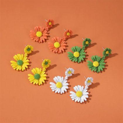 Sterling silver tusensköna örhängen solros blomma flera färger