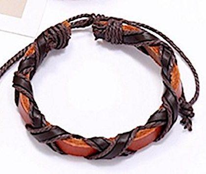 Brunt/orange armband i äkta läder med mörka band