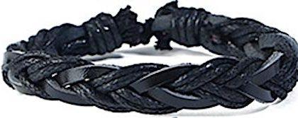 Handgjort armband i helsvart med både snören och läderband