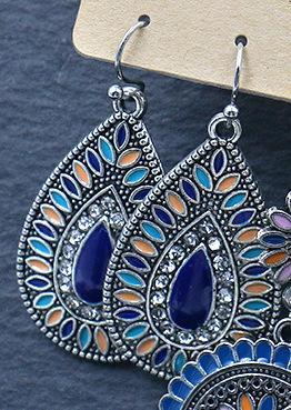 Örhängen hoops med blå stenar silverpläterade antik vintage