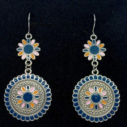 Örhängen med blå stenar silverpläterade antik vintage blomma