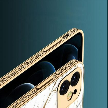 iPhone 12 Pro Max lyxigt glas-skal guld marmormönster svart vit