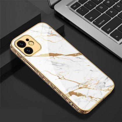 iPhone 12 Pro lyxigt glas-skal guld marmormönster svart vit