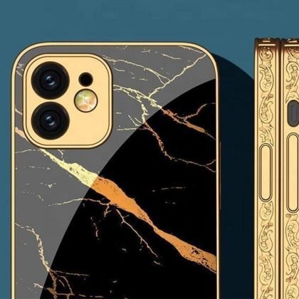 iPhone 12 lyxigt glas-skal guld marmormönster svart vit