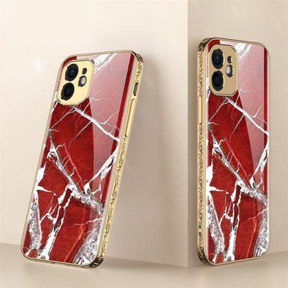 iPhone 12 Pro Max Lyx glas-skal guld barock elegant flera färger