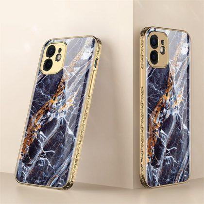 iPhone 12 Lyx glas-skal guld barock elegant flera färger
