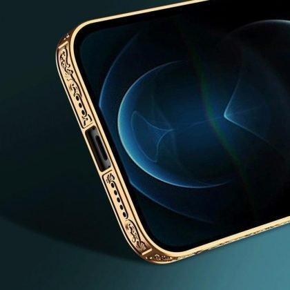iPhone 12 Lyx glas-skal guld barock elegant svart rosa rokoko