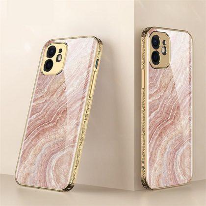 iPhone 12 Pro Lyx glas-skal guld barock elegant svart rosa rokoko