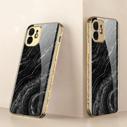 iPhone 12 Pro Max Lyx glas-skal guld barock elegant svart rosa rokoko