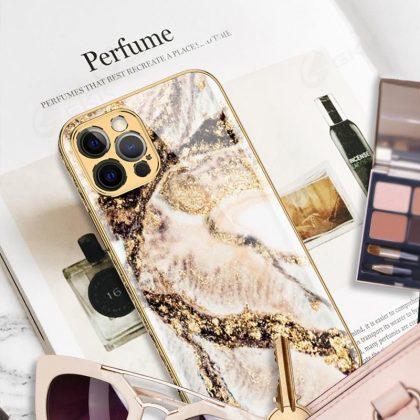 iPhone 12 Lyx glas skal guld barock elegant rokoko marmor
