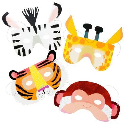 Party mask djur tiger giraff zebra maskerad