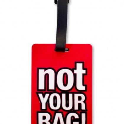 Bagagebricka ''Not your bag'' bagagetag röd svart