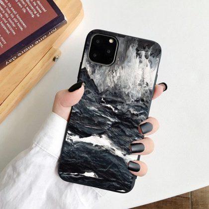 iPhone 12 & 13 Pro Max Mini skal marmor sten vattenfärg vatten