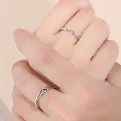 Matchande silverpläterade ringar med zirkon par-ring valentines day